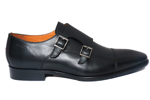 Real Leather Men's Black Double Monk Shoes
