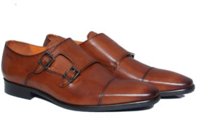 Real Leather Men's Brown Double Monk Shoes