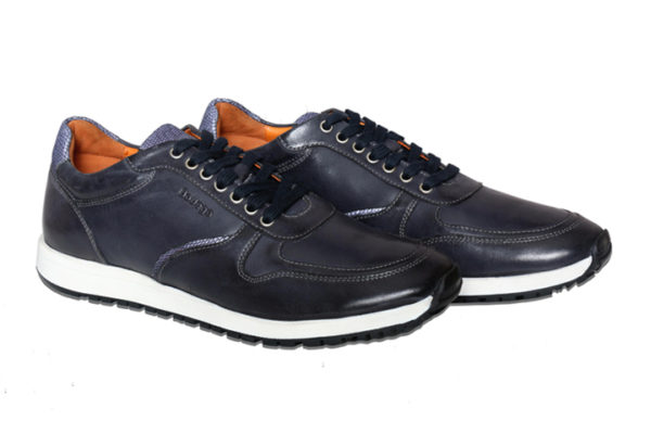 Real Leather Men's Navy Casual Sneaker