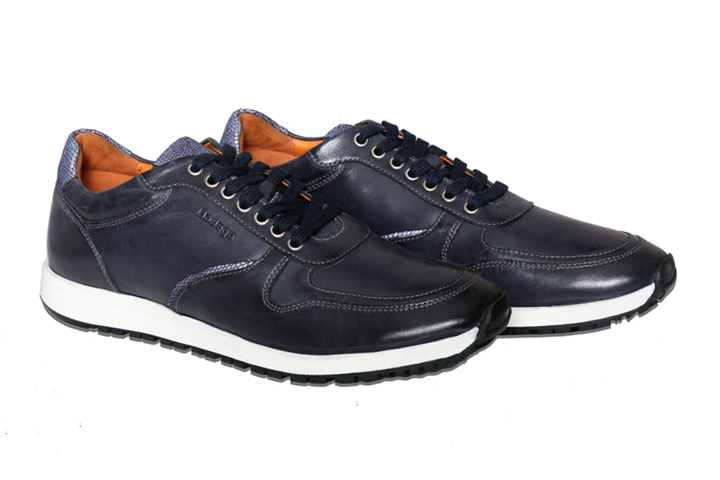 Bodega Shoes Real Leather Men Navy Casual Sneaker