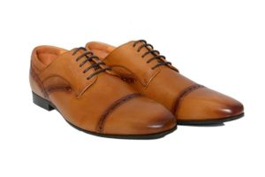 Real Leather Men's Brown Derby Shoes With Perforated Detailing