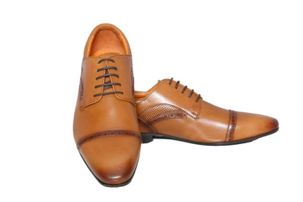 Bodega Shoes Real Leather Men Brown Derby Shoes With Perforated Detailing