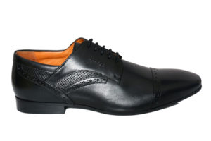 Real Leather Men's Black Derby Shoes With Perforated Detailing