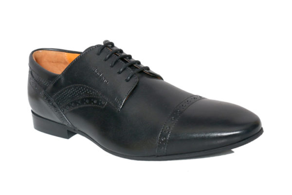 Bodega Shoes Real Leather Men's Black Derby Shoes With Perforated Detailing