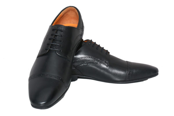 Bodega Shoes Real Leather Men Black Derby Shoes With Perforated Detailing