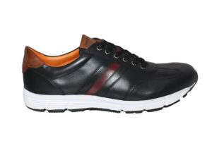 Real Leather Men's Black Lightweight Sneaker
