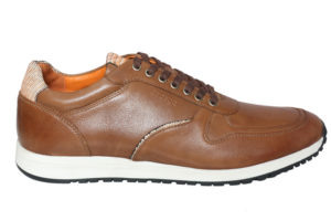 Real Leather Men's Cognac Casual Sneaker