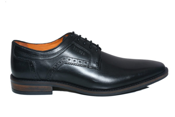 Real Leather Men Black Derby Shoes
