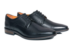 Real Leather Men's Black Derby Shoes