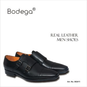 real Leather Shoes Monk Black