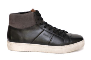 Real Leather Men Black Casual Ankle Sneaker