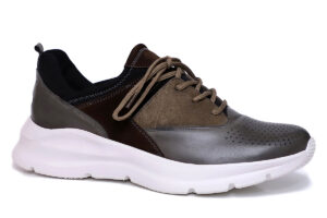Real Leather Men Grey Brown Casual Sneaker